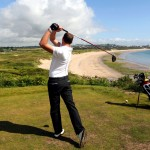 9th hole Tenby Golf Course looking along Tenby's South Beach.