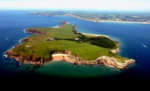 Caldey Island from air