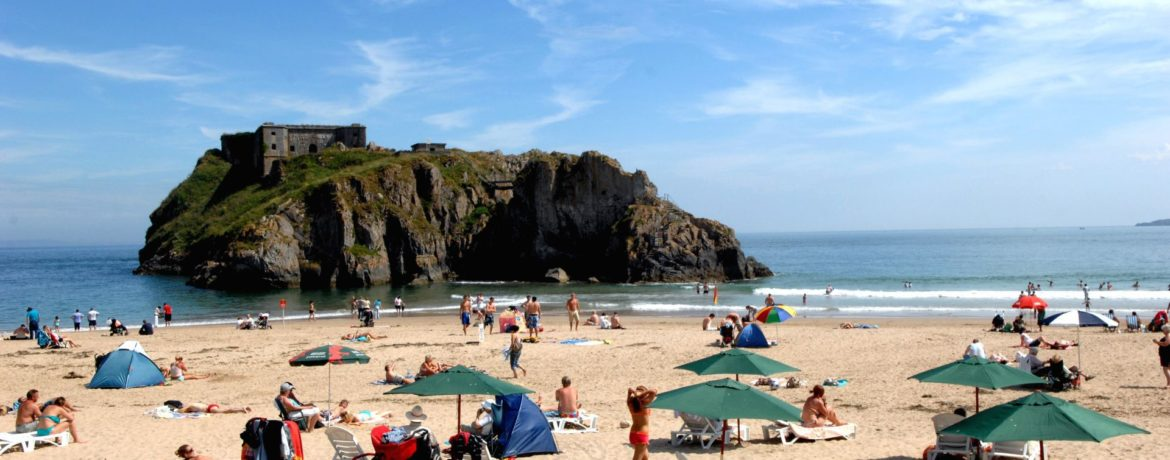 Tenby Castle Beach and St Catherines Island