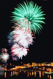 Tenby Fireworks over the harbour